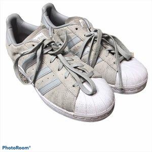 Adidas Gray Suede Superstar Three Stripe Sneakers